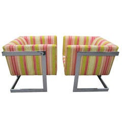 Dandy Pair of Milo Baughman Petite Chrome Cube Chairs, Mid-Century Modern