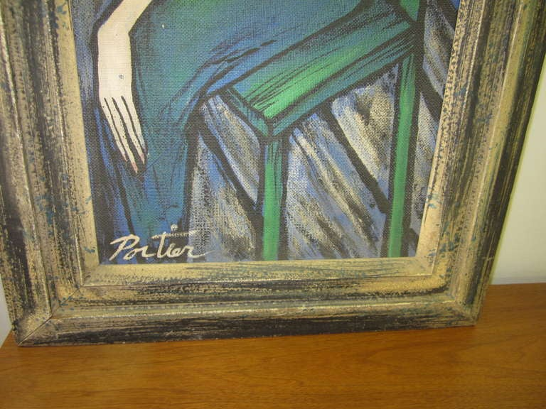 Large Scale Mid-Century Modern Oil Painting Blue Lady in Chair Portier For Sale 3