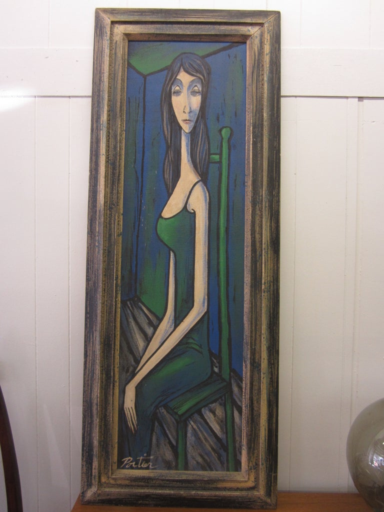 Large Scale Mid-Century Modern Oil Painting Blue Lady in Chair Portier For Sale