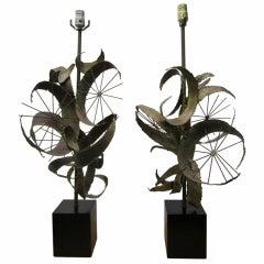 Pair of C. Jere Brass Brutalist Table Lamps Laurel, Mid-Century Modern