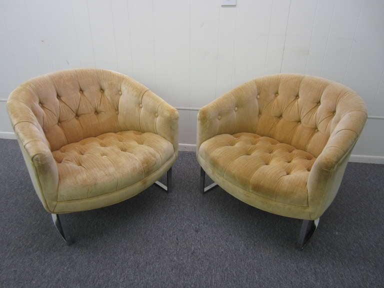 Superior Pair Milo Baughman Tufted Chrome Barrel Tub Chairs Mid Century Modern 2