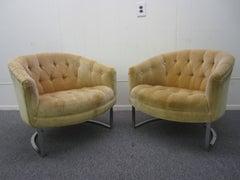Pair of Milo Baughman Style Tufted Chrome Barrel Tub Chairs Mid-Century Modern