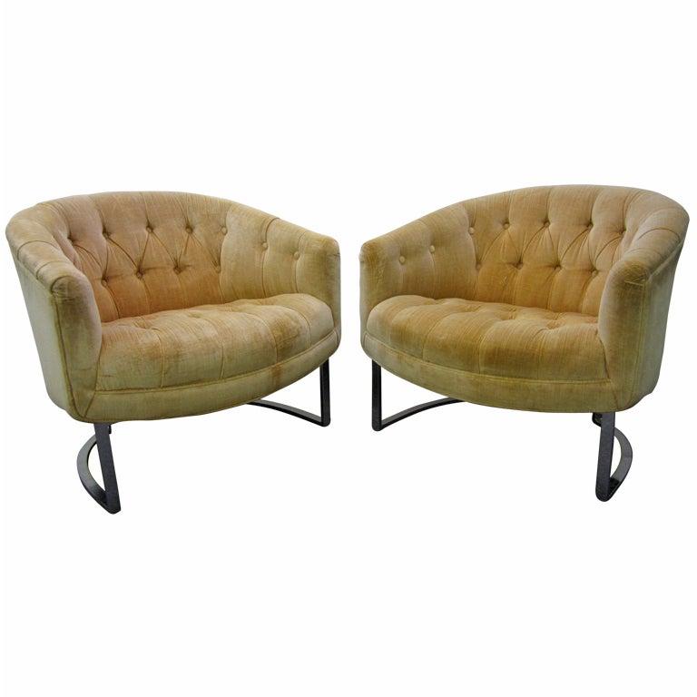Pair Milo Baughman Tufted Chrome Barrel Tub Chairs Mid Century Modern For