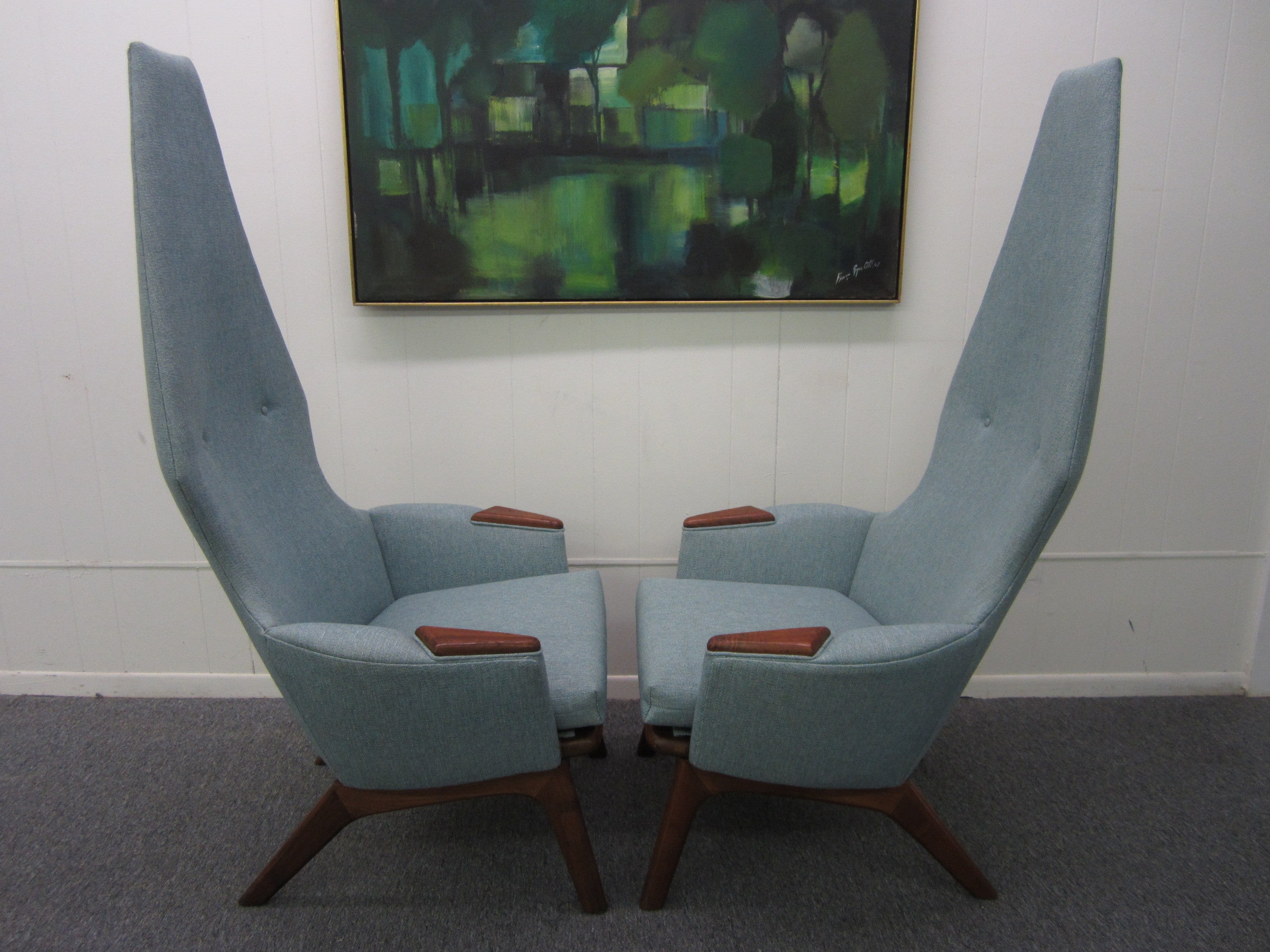 Spectacular Pair of Adrian Pearsall High Back Chairs Mid-Century Danish Modern