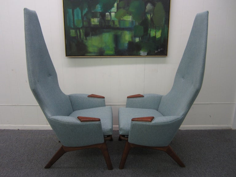 Spectacular Pair of Adrian Pearsall High Back Chairs Mid-Century Danish Modern For Sale