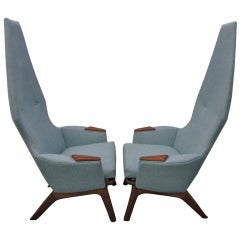 Pair of Adrian Pearsall High Back Chairs Mid-Century Danish Modern