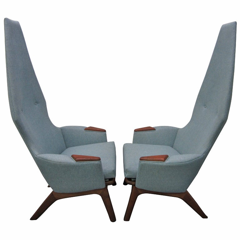Wonderful Pair Of Adrian Pearsall High Back Chairs Mid Century Danish Modern 1