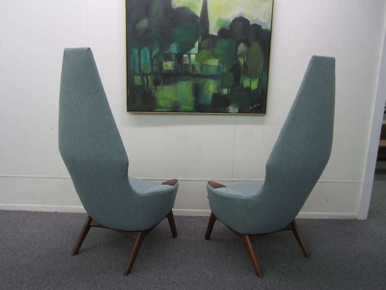 Spectacular Pair of Adrian Pearsall High Back Chairs Mid-Century Danish Modern For Sale 3