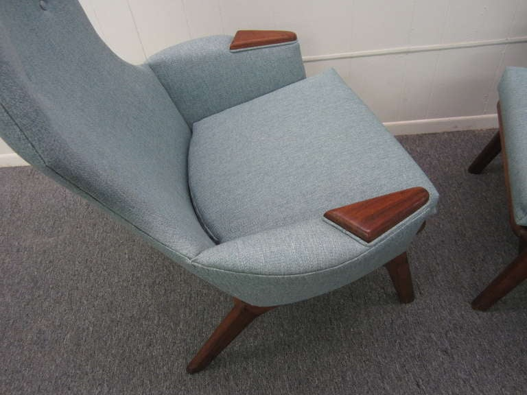 Spectacular Pair of Adrian Pearsall High Back Chairs Mid-Century Danish Modern For Sale 1