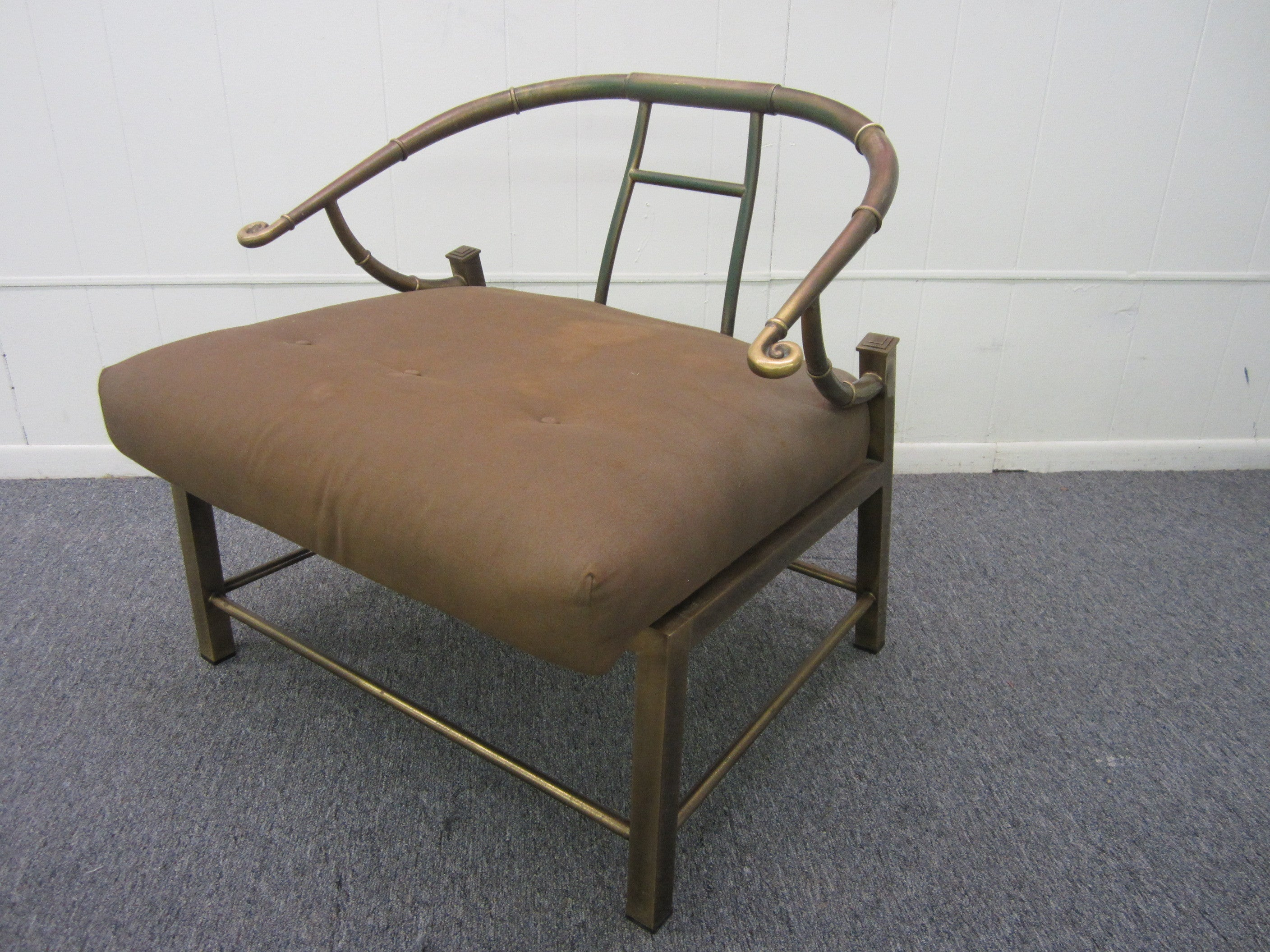 Mastercraft Asian Inspired Faux Bamboo Brass Lounge Chair, Mid-Century