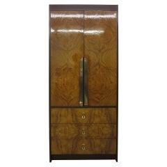 Milo Baughman Burled Wood Tall Dresser Cabinet Mid-Century Modern