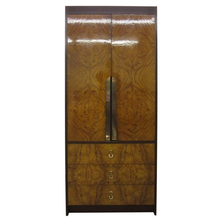 Milo Baughman Burled Wood Tall Dresser Cabinet Mid-Century Modern ...