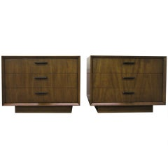 Pair Mid-century Modern Low Profile Night Stands Plinth Base