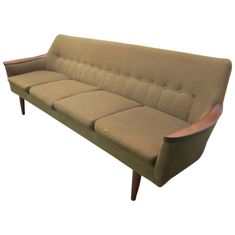 Nanna ditzel style four seat sculptural teak sofa mid for Danish design sofa