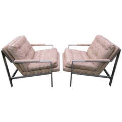 Excellent Pair of Milo Baughman Style Chrome Flat Bar Lounge Chairs Mid-Century Modern