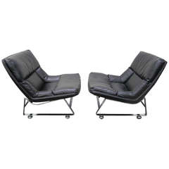 Pair of Pervical Lafer Style Chrome Lounge Chairs Midcentury Danish