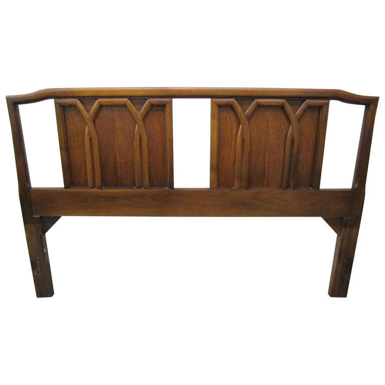 Wonderful mid century modern walnut lattice gothic for Gothic style beds for sale
