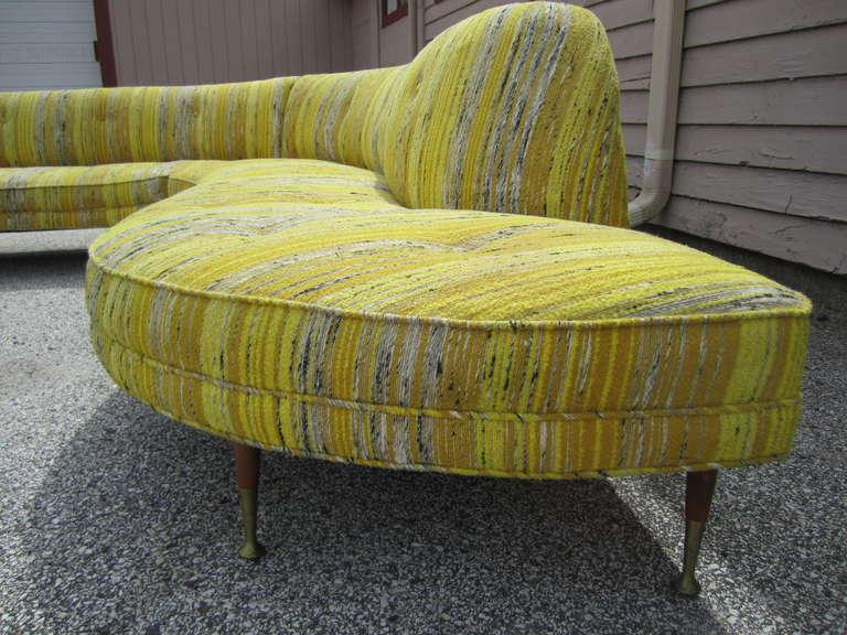 Amazing Vladimir Kagan Style 2 Piece Serpentine Sofa Mid