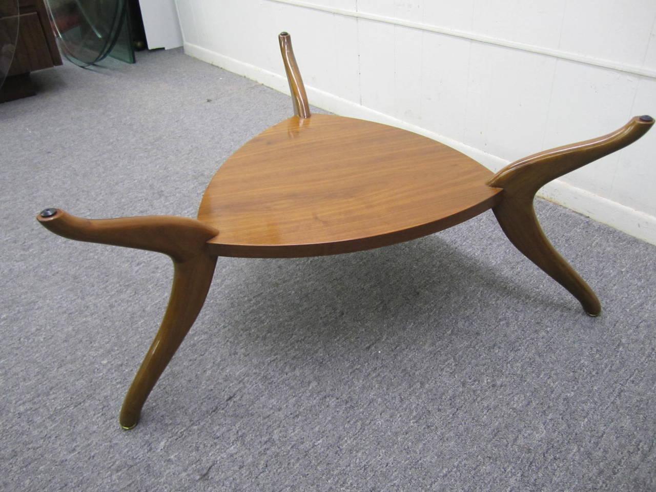Sculptural Vladimir Kagan Style Triangular Coffee Table Mid Century Modern For Sale At 1stdibs