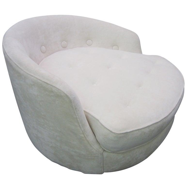 Milo Baughman Thayer Coggin Round Swivel Lounge Chair Mid Century at 1stdibs
