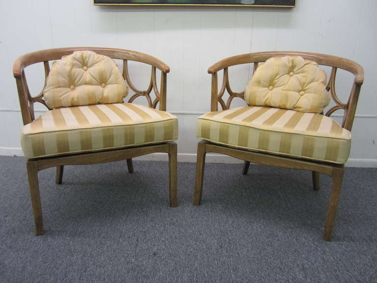 Charming Amazing Pair Of Billy Haines Barrel Back Chairs, Regency Modern 3