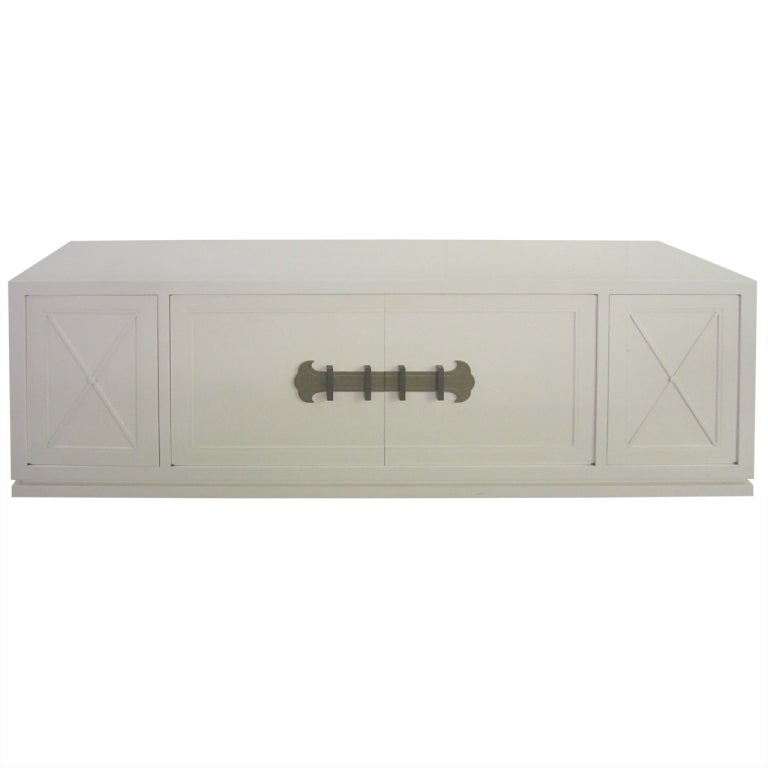 Grosfeld House Cream Lacquered Hanging Credenza, Mid-Century Modern