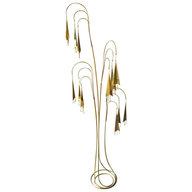 Wonderful C Jere Brass Trumpet Vine Tall Floor Sculpture Kinetic Mid-century