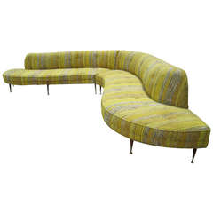 Amazing Vladimir Kagan style 2 Piece Serpentine Sofa Mid-century Modern