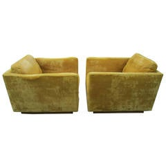 Fantastic Pair of Signed Milo Baughman Cube Lounge Chairs for James Inc.