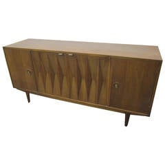Mid-Century Danish Modern Walnut Diamond Front Credenza, Long Dresser