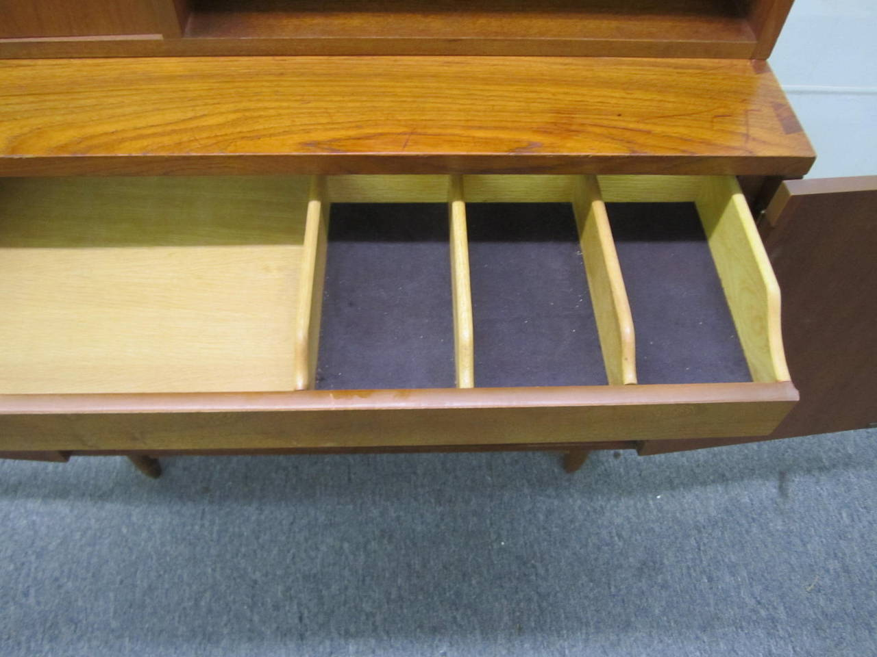 Walnut Rare Lane Acclaim Cabinet Caned Hutch, Mid-Century Modern For Sale