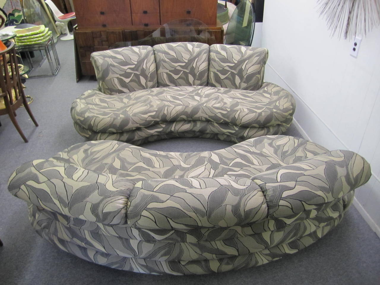 Fabulous Pair Of Kidney Shaped Cloud Sofas Mid Century By Adrian Pearsall  For Comfort
