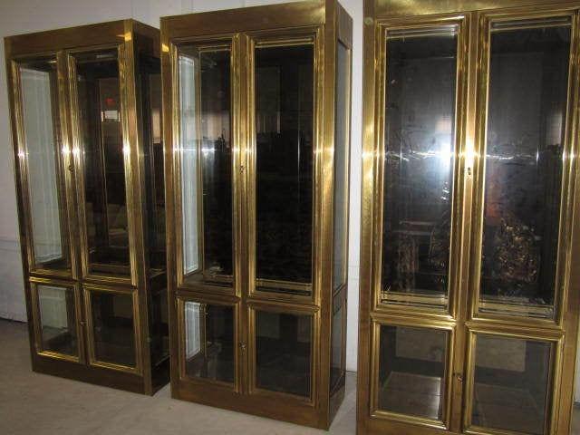 stunning pair of mastercraft brass vitrine mid century. Black Bedroom Furniture Sets. Home Design Ideas