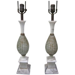 Pair Of White  Gold Fleck Bubble  Murano Lamps Marble Base Regency Modern