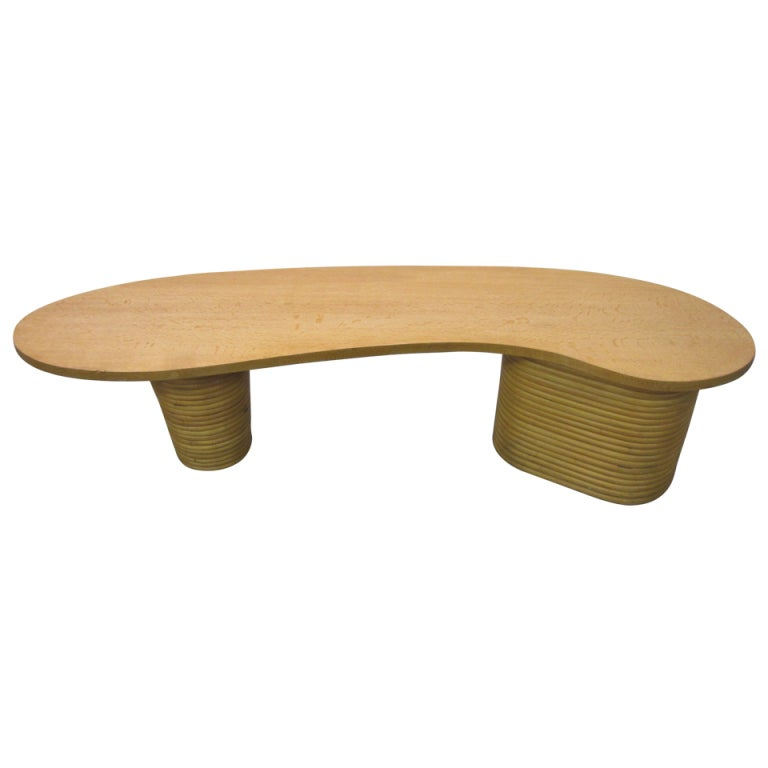 Wondeful Paul Frankl Kidney Shaped Rattan Coiled Coffee Table At 1stdibs
