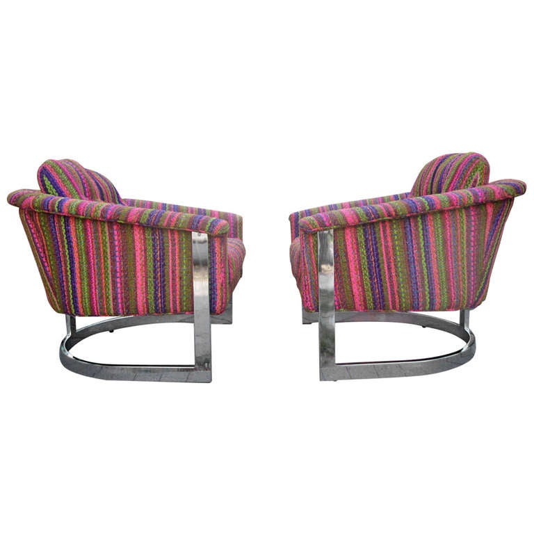 Milo Baughman Style Chrome Flatbar Barrel-Back Lounge Chair, Mid-Century