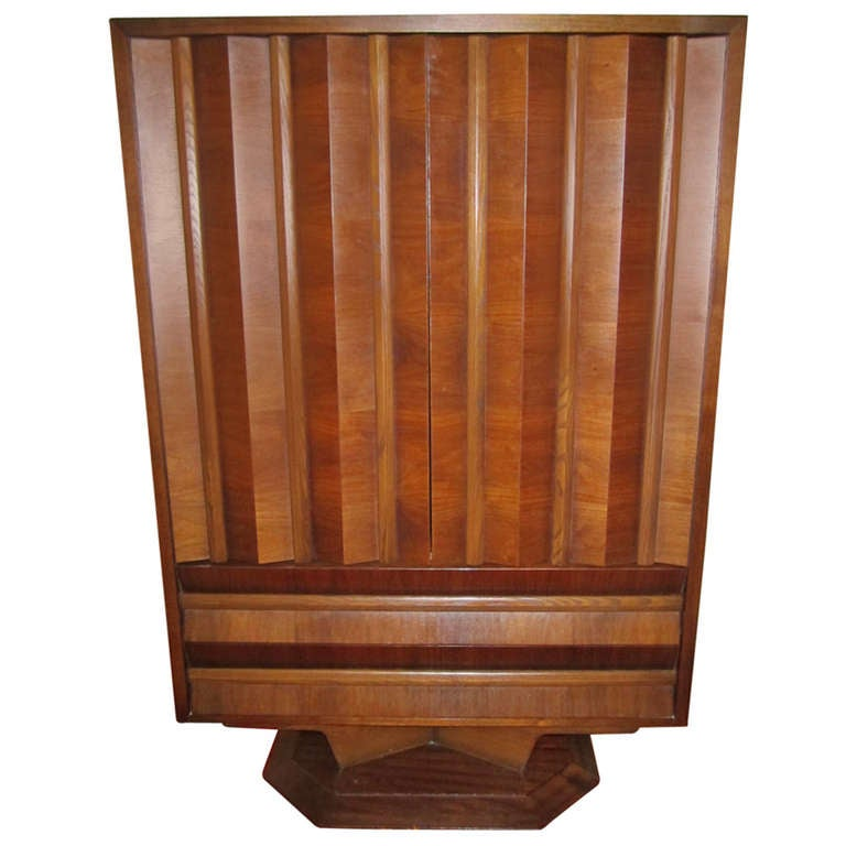 Fabulous Mid-century Modern 3 dimensional Walnut tall Dresser Danish For Sale