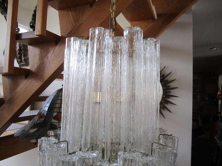 Mid-Century Modern Monumental 6 Foot Camer Venini Glass Tronchi Tube Chandelier Mid-century Modern For Sale