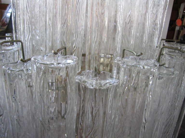 Italian Monumental 6 Foot Camer Venini Glass Tronchi Tube Chandelier Mid-century Modern For Sale