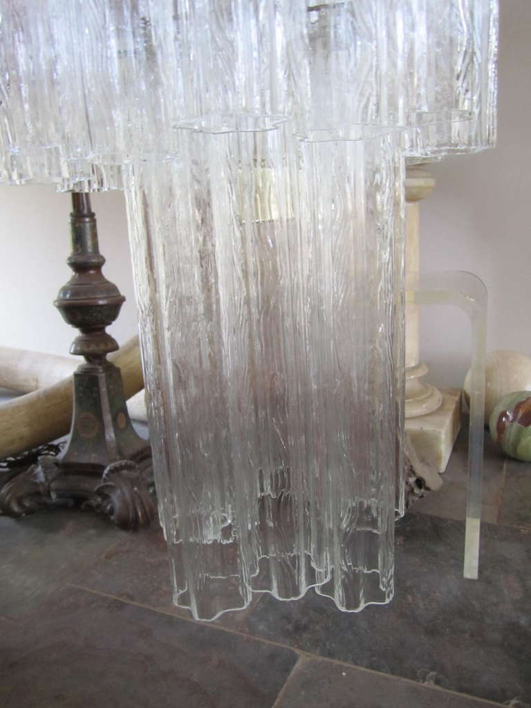 Monumental 6 Foot Camer Venini Glass Tronchi Tube Chandelier Mid-century Modern In Excellent Condition For Sale In Medford, NJ