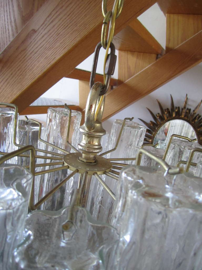 Late 20th Century Monumental 6 Foot Camer Venini Glass Tronchi Tube Chandelier Mid-century Modern For Sale