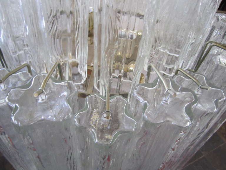 Metal Monumental 6 Foot Camer Venini Glass Tronchi Tube Chandelier Mid-century Modern For Sale