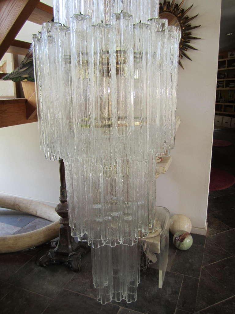 Monumental 6 Foot Camer Venini Glass Tronchi Tube Chandelier Mid-century Modern For Sale 3