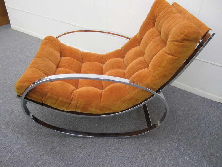 Fabulous Milo Baughman Style Orange Velvet Chrome Rocking