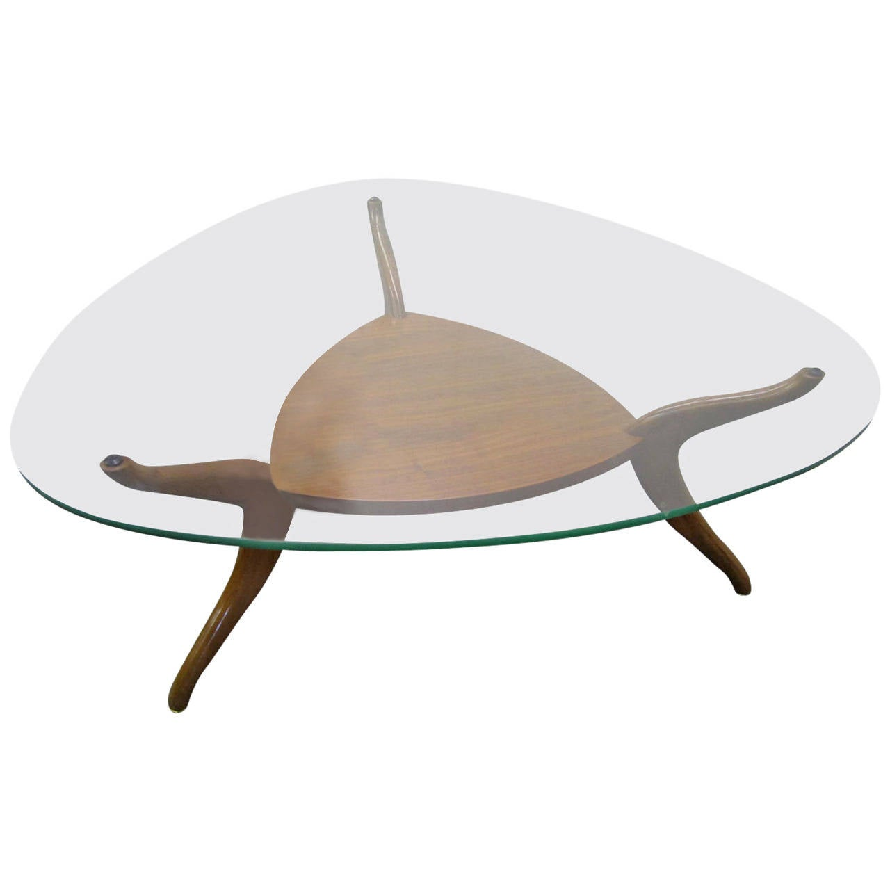 Sculptural Vladimir Kagan Style Triangular Coffee Table Mid Century Modern For Sale At 1stdibs