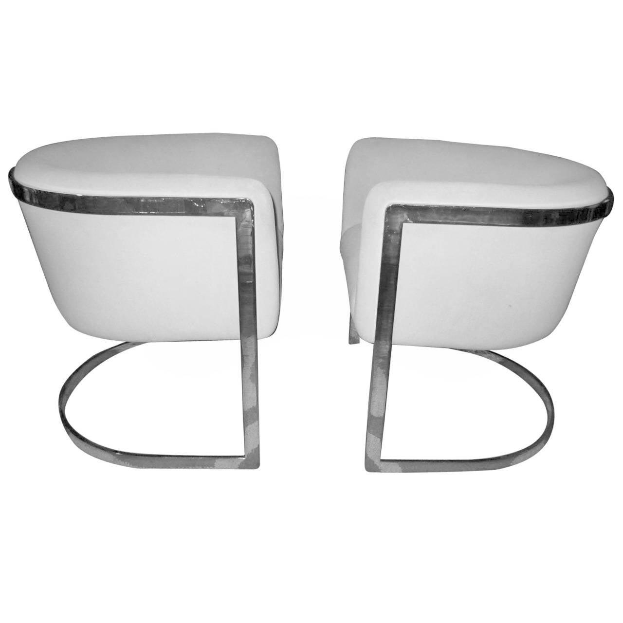 Sleek Pair Of Milo Baughman Style Chrome Barrel Back Tub Chairs 1