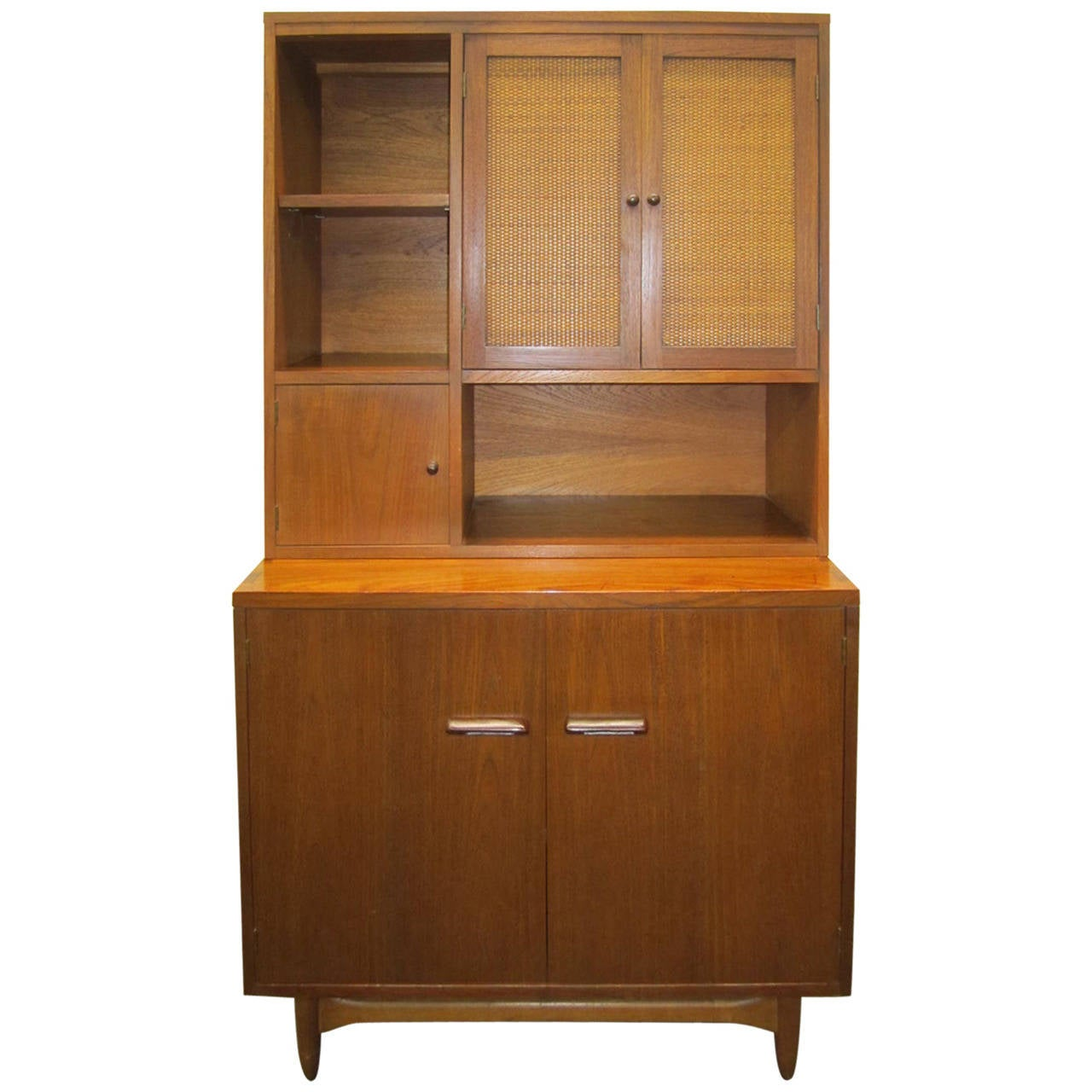 Rare Lane Acclaim Cabinet Caned Hutch, Mid-Century Modern 1