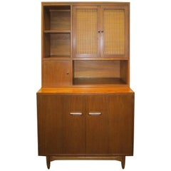 Rare Lane Acclaim Cabinet Caned Hutch, Mid-Century Modern