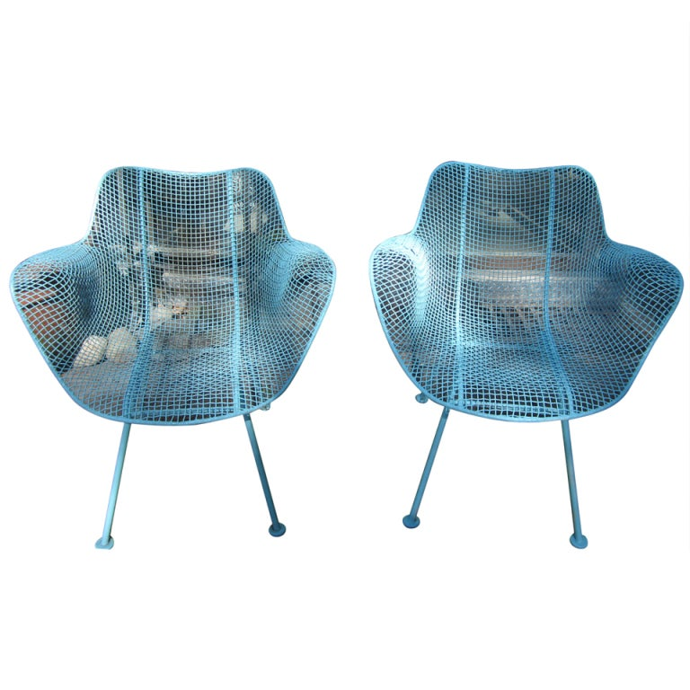 Pair woodard mesh sculptra patio lounge chairs mid century for Mesh patio chairs