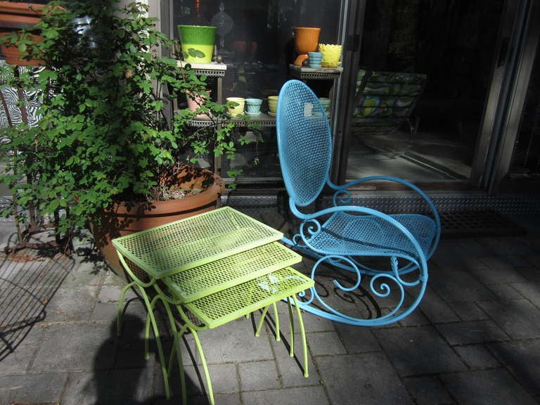 Awesome Salterini Style Mid-century Rocking Chair Patio For Sale 3